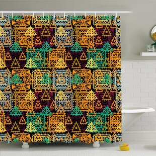 Modern Art Home Folk Aztec Motif with Ornate Triangles Rounds and Inner Spots Dots Figures Shower Curtain Set