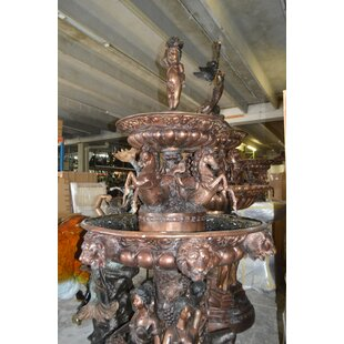 Bronze Nine Feet Tall Outdoor Pond Fountain by Nifao Statues
