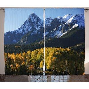 Snow Village Landscape Graphic Print Room Darkening Rod Pocket Curtain Panels (Set Of 2) by East Urban Home