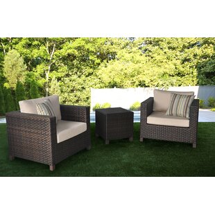 Borel 3 Pieces Rattan Seating Group with Sunbrella Cushions