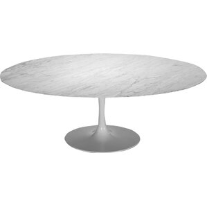 Beautiful Basin White Oval Metal Dining Table