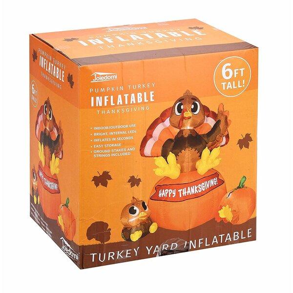 The Holiday Aisle Thanksgiving Turkey On Pumpkin Inflatable Wayfair