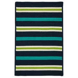 Painter Stripe Navy Waves Indoor/Outdoor Area Rug