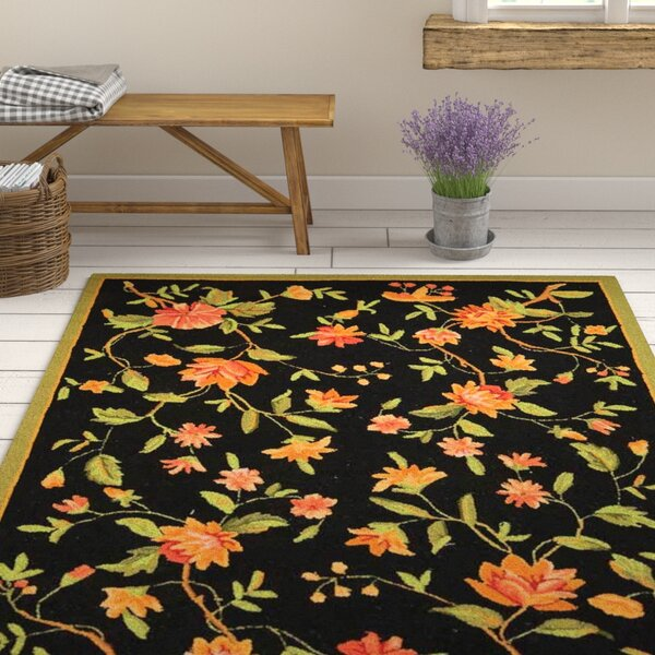 August Grove Kinchen Hand Hooked Wool Black Area Rug Reviews