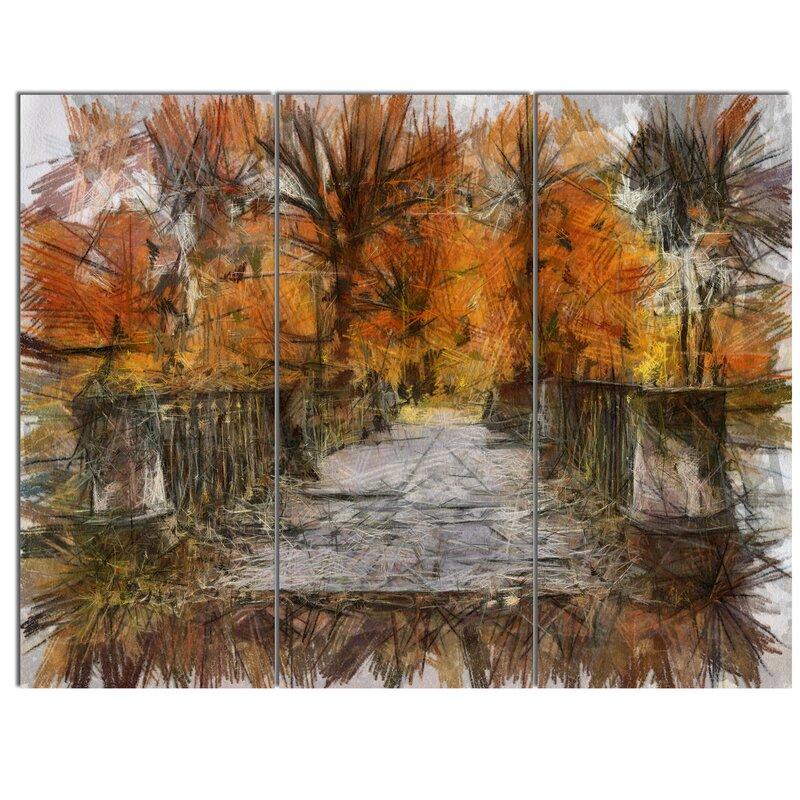 Designart Beautiful Watercolor Autumn Forest 3 Piece Wall Art On Wrapped Canvas Set Wayfair