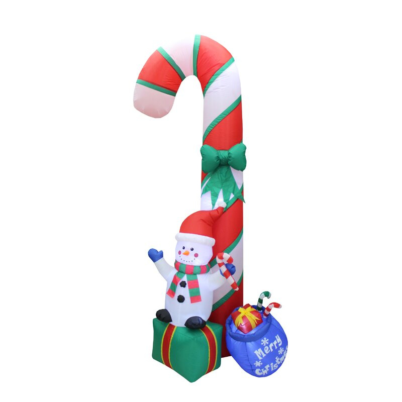 Snowman On Gift Box With Candy Cane Christmas Inflatable