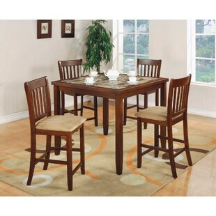 Keenum 5 Piece Counter Height Solid Wood Dining Set with Marble Top