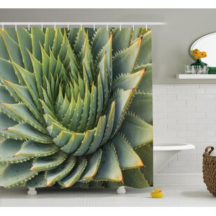 Kaden Cactus Botanic Spikey Wild Nature Inspired Western Dessert Plant Flower Artwork Image Single Shower Curtain