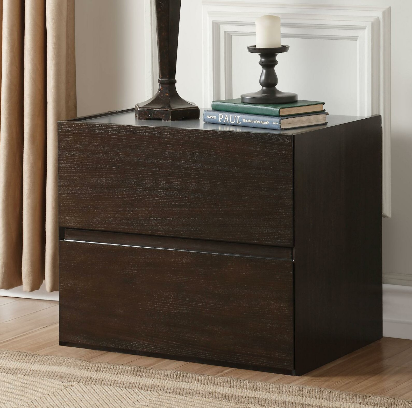 Quanah Contemporary Style Wooden 2 Drawer Nightstand