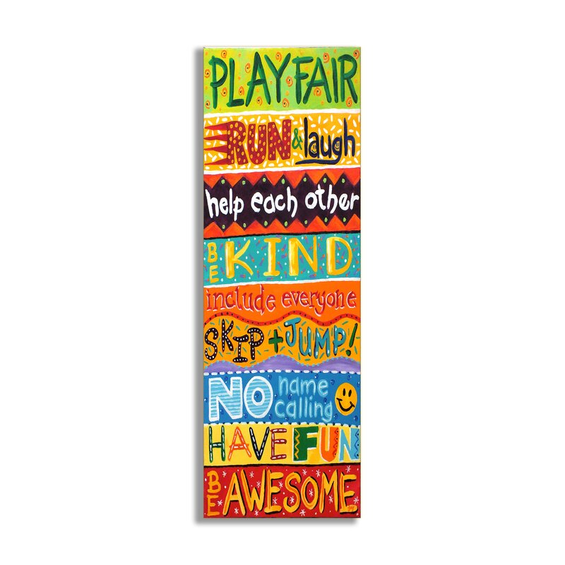 Elektra Play Fair, Run and Laugh Colorful Typography Wall Plaque