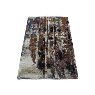 One-of-a-Kind Carana Abstract Hand-Knotted 2' x 3' Silk Orange/Black Area Rug Isabelline