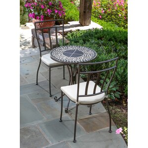 Wilhite Mosaic 3 Piece Bistro Set With Cushions