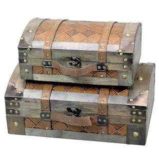 Danyel Leather 2 Piece Trunk Set