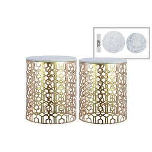 Plympt Lattice Pattern Metal 2 Piece Nesting Tables