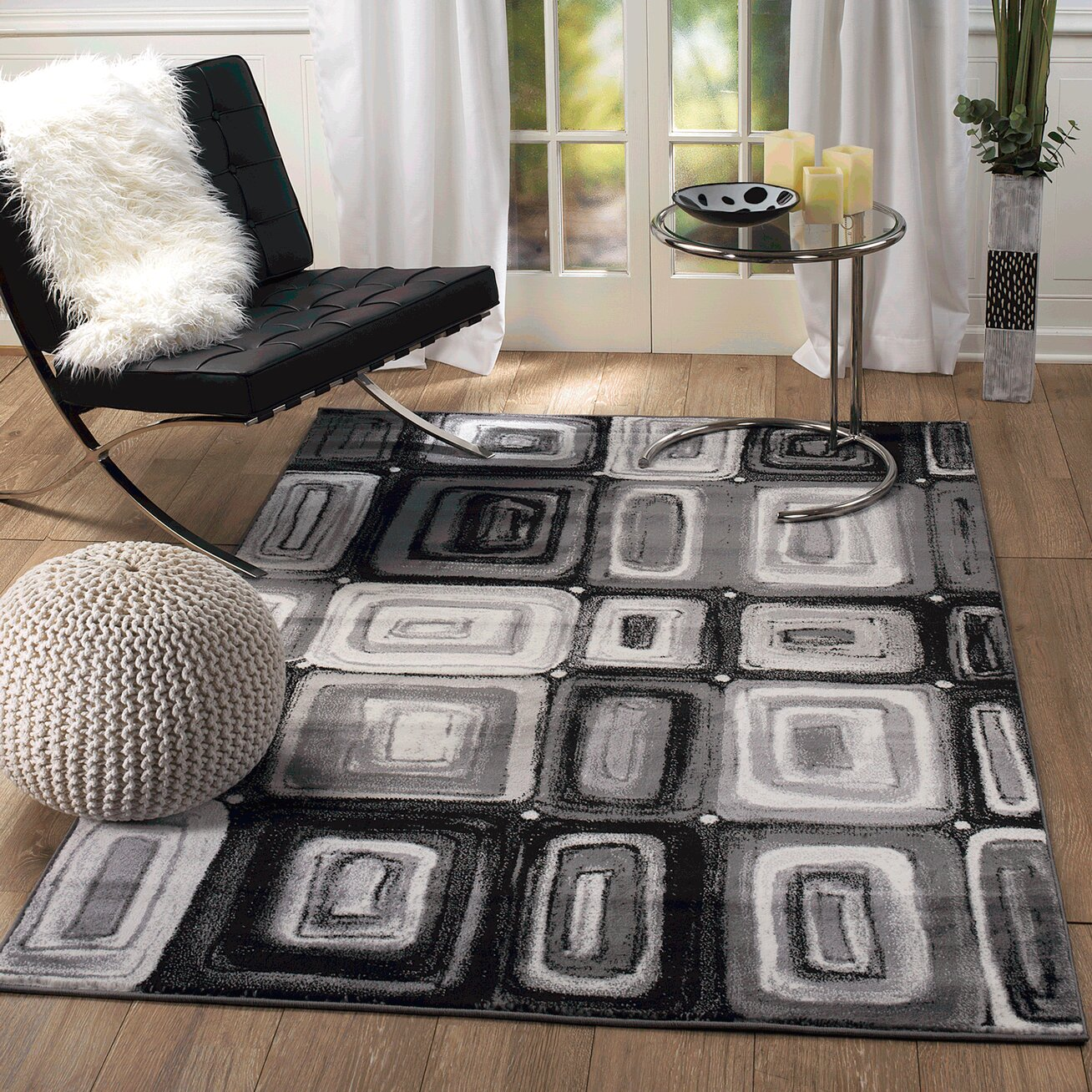 Orren Ellis Calla Geometric Power Loom Black Gray White Rug Reviews Wayfair