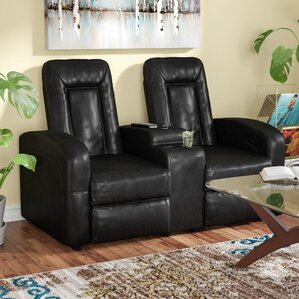 Red Barrel Studio Leather 2 Seat Home Theater Recliner with Storage Console