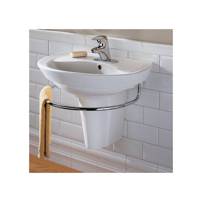 Ravenna Vitreous China U Shaped Pedestal Bathroom Sink With Overflow