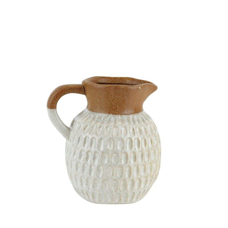 Joss Main Teton Brown White 6 75 Ceramic Table Vase Wayfair