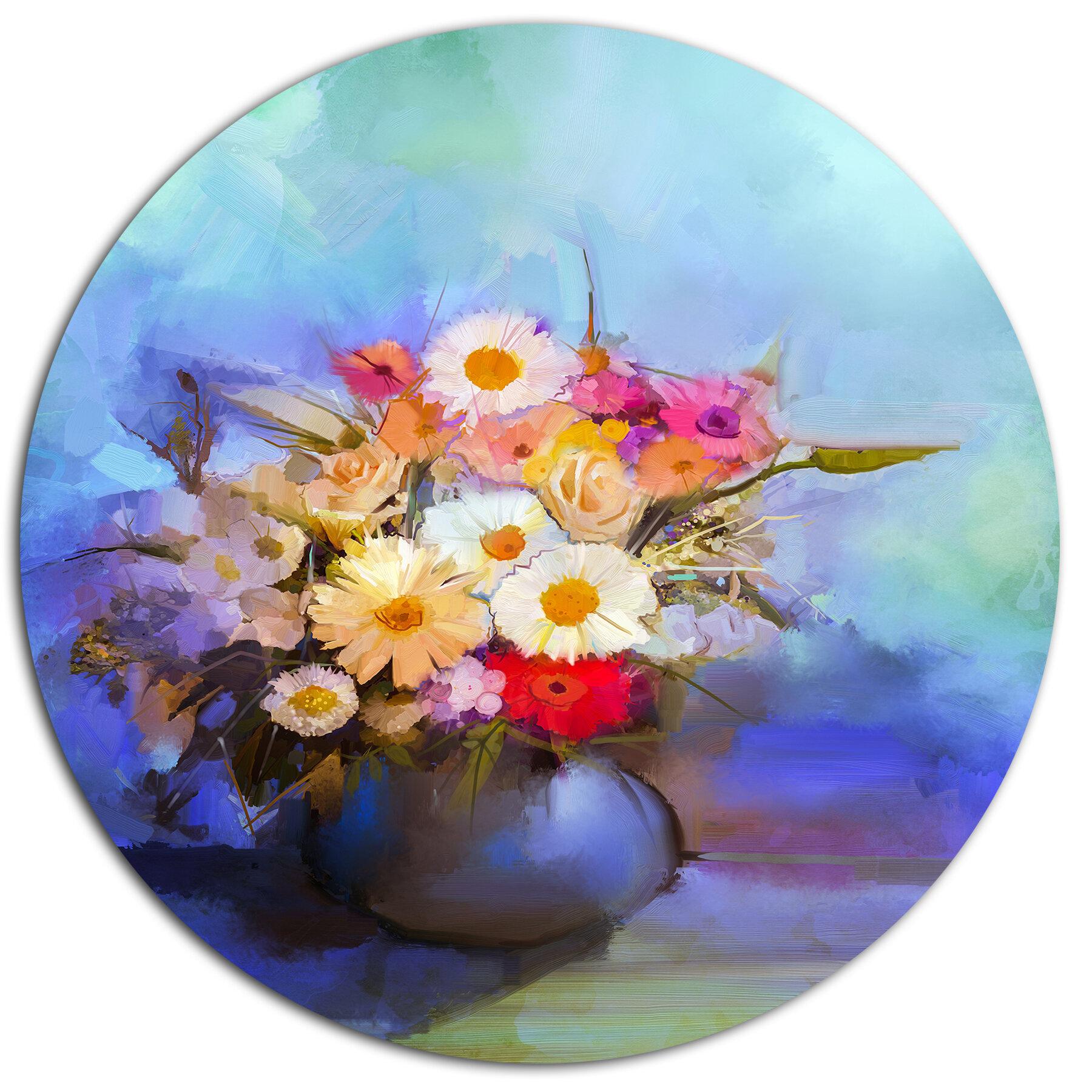 Designart Beautiful Flowers Bouquet On Blue Oil Painting Print On