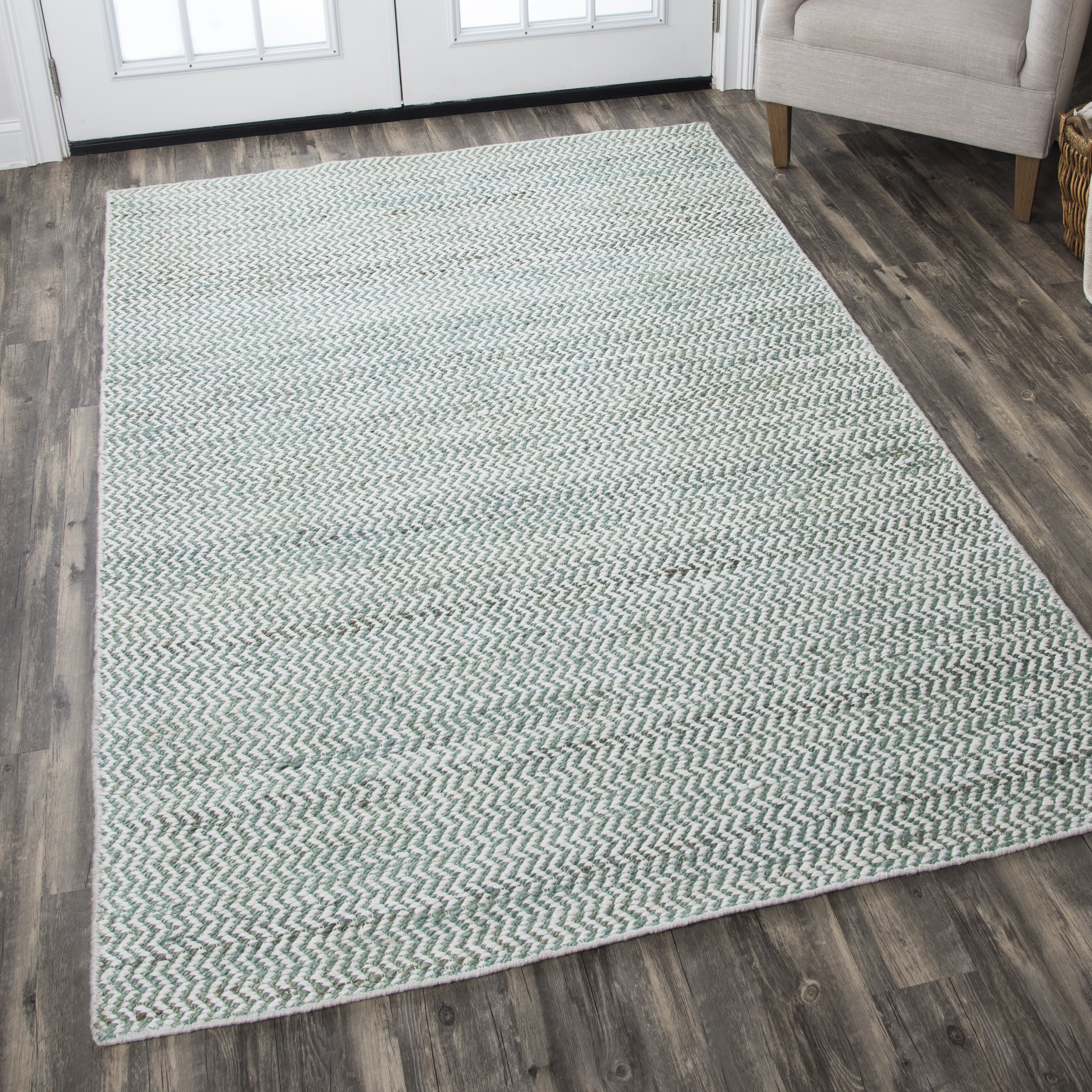 Latitude Run Killington Chevron Hand Woven Flatweave Wool Blue Area Rug Reviews Wayfair