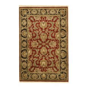 Clearance One-of-a-Kind Amburgey Hand-Knotted 3'11 x 6' Wool Red/Black Area Rug By Isabelline