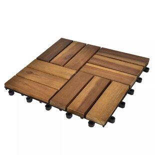 Cozart 30cm x 30cm Wood Tile in Brown (Set of 20) by Lynton Garden