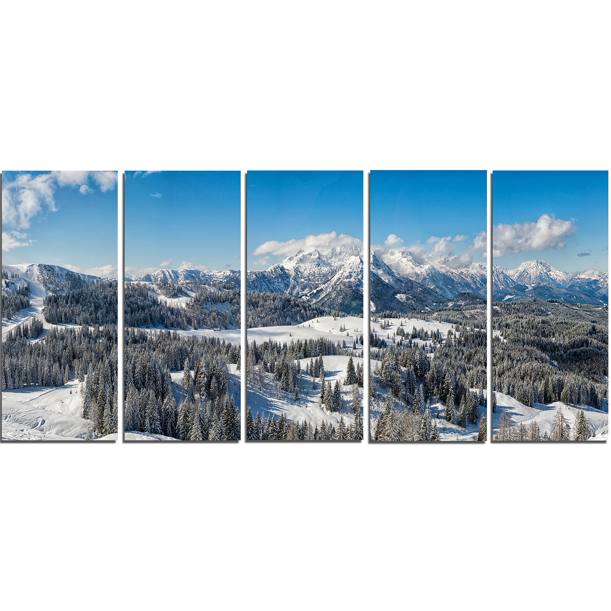 Austrian Alps Winter Panorama 3 Piece Graphic Art On Wrapped Canvas Set