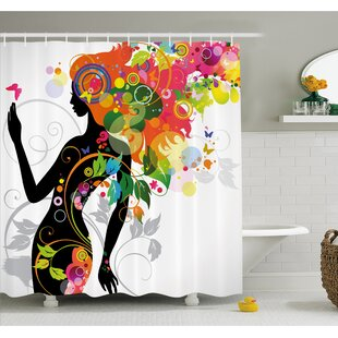 Butterfly Modern Version with Spring Spiral Circles Leaf Botany Shower Curtain Set