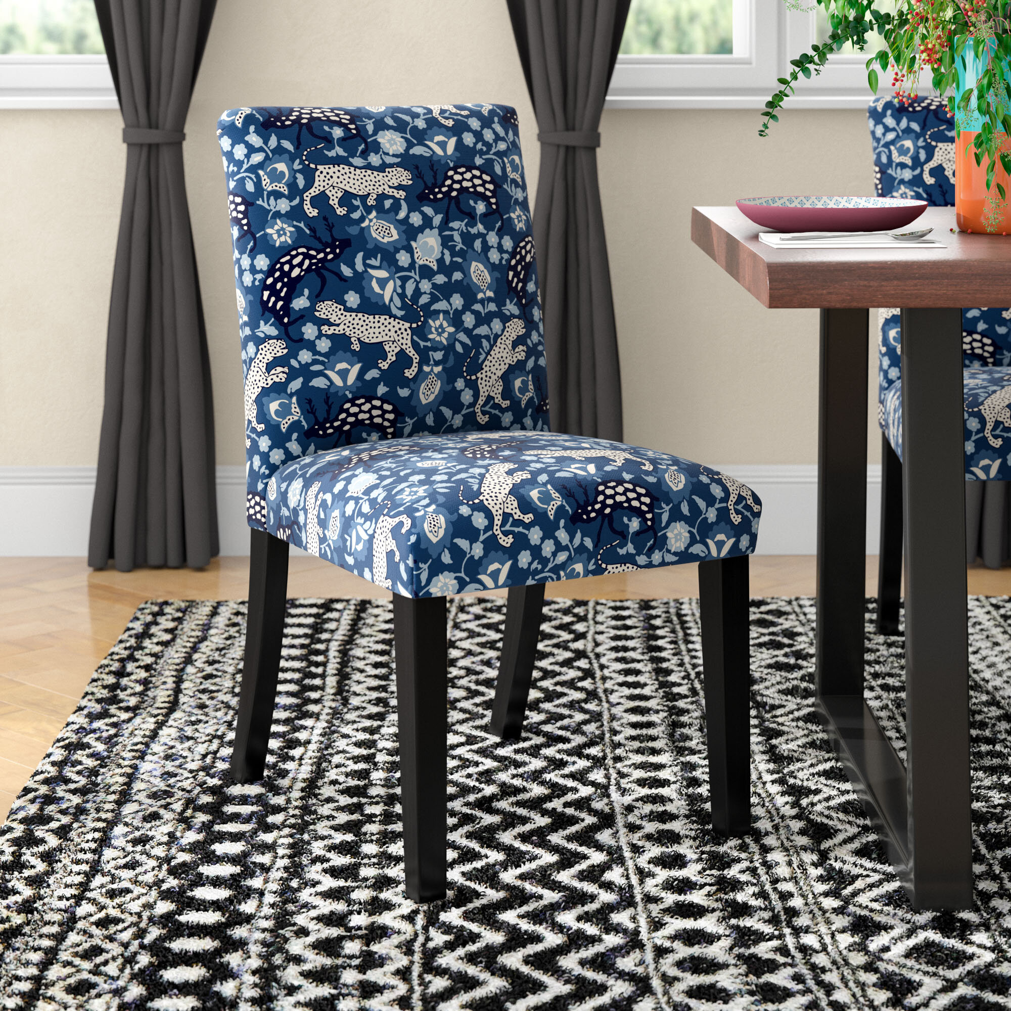 Mistana Abril Leopard Upholstered Parsons Chair