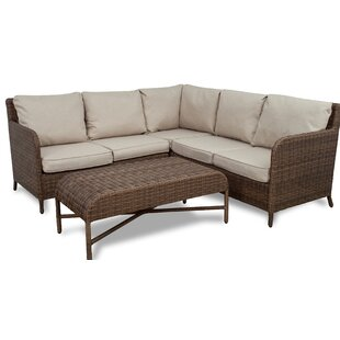 Bavis 4 Piece Rattan Conversation Set with Cushions