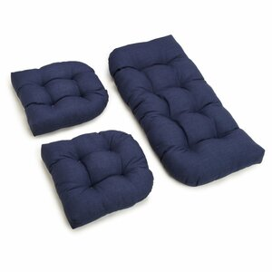 3 Piece Outdoor Bench and Dining Chair Cushion Set