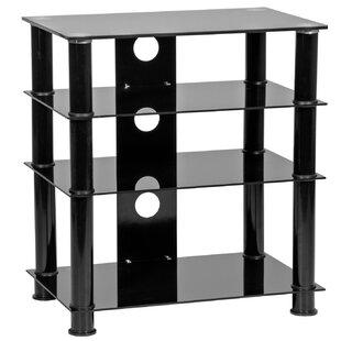 Glass 4 Shelf Hi-Fi Tower Audio Cabinet by Ebern Designs 2019 Sale