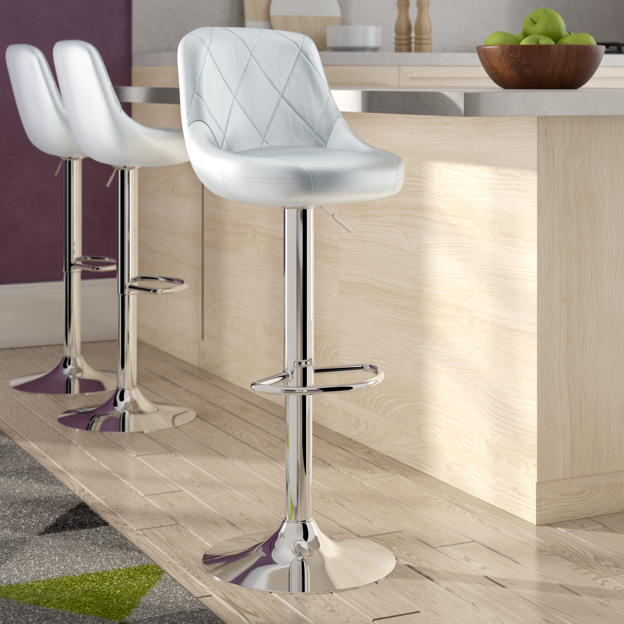 Adjustable Height Faux Leather Bar Stools Counter Stools You Ll Love In 2021 Wayfair