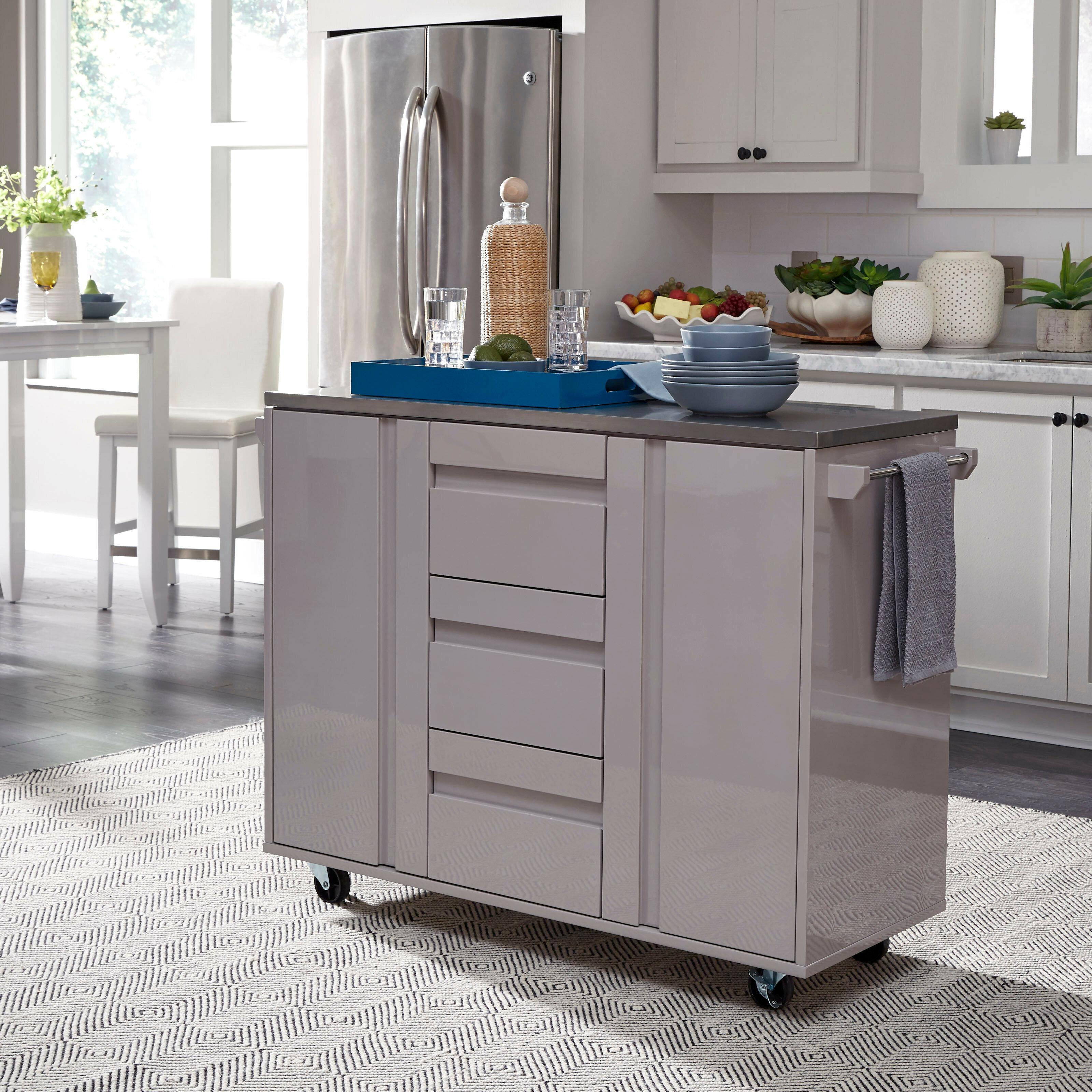 Latitude Run Emblyn Kitchen Island With Cart Stainless Steel Top Wayfair