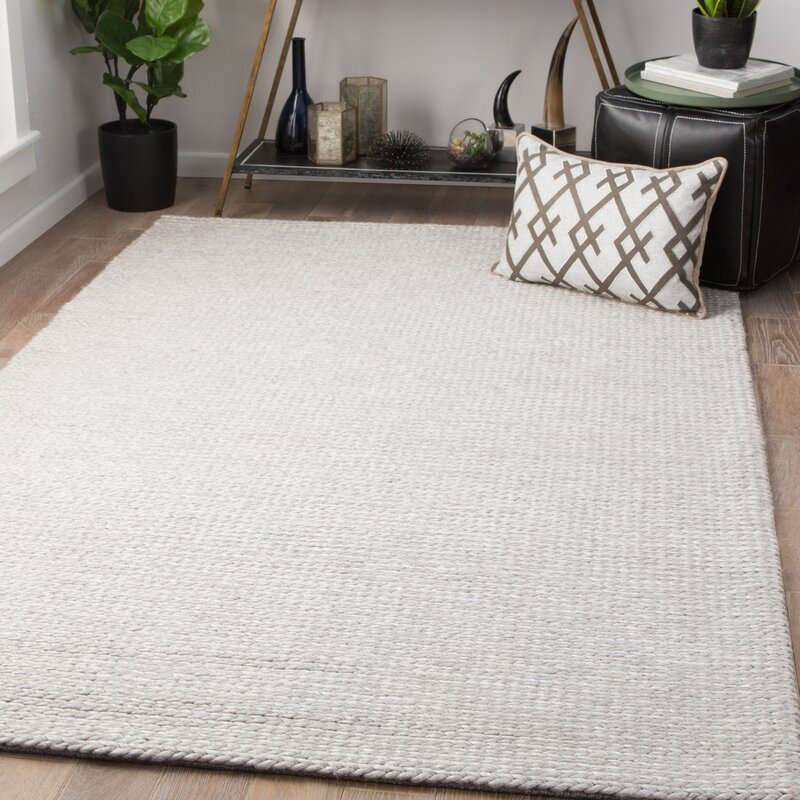 Maisonet Hand Knotted Wool Light Gray Area Rug