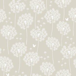 Dandelion   Taupe Wallpaper Roll