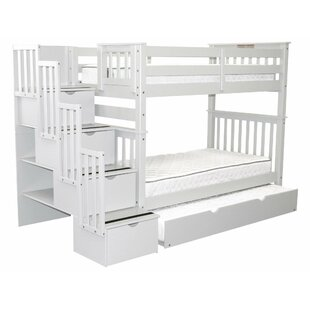 Tena Tall Twin Over Twin Stairway Bunk Bed with Trundle by Harriet Bee