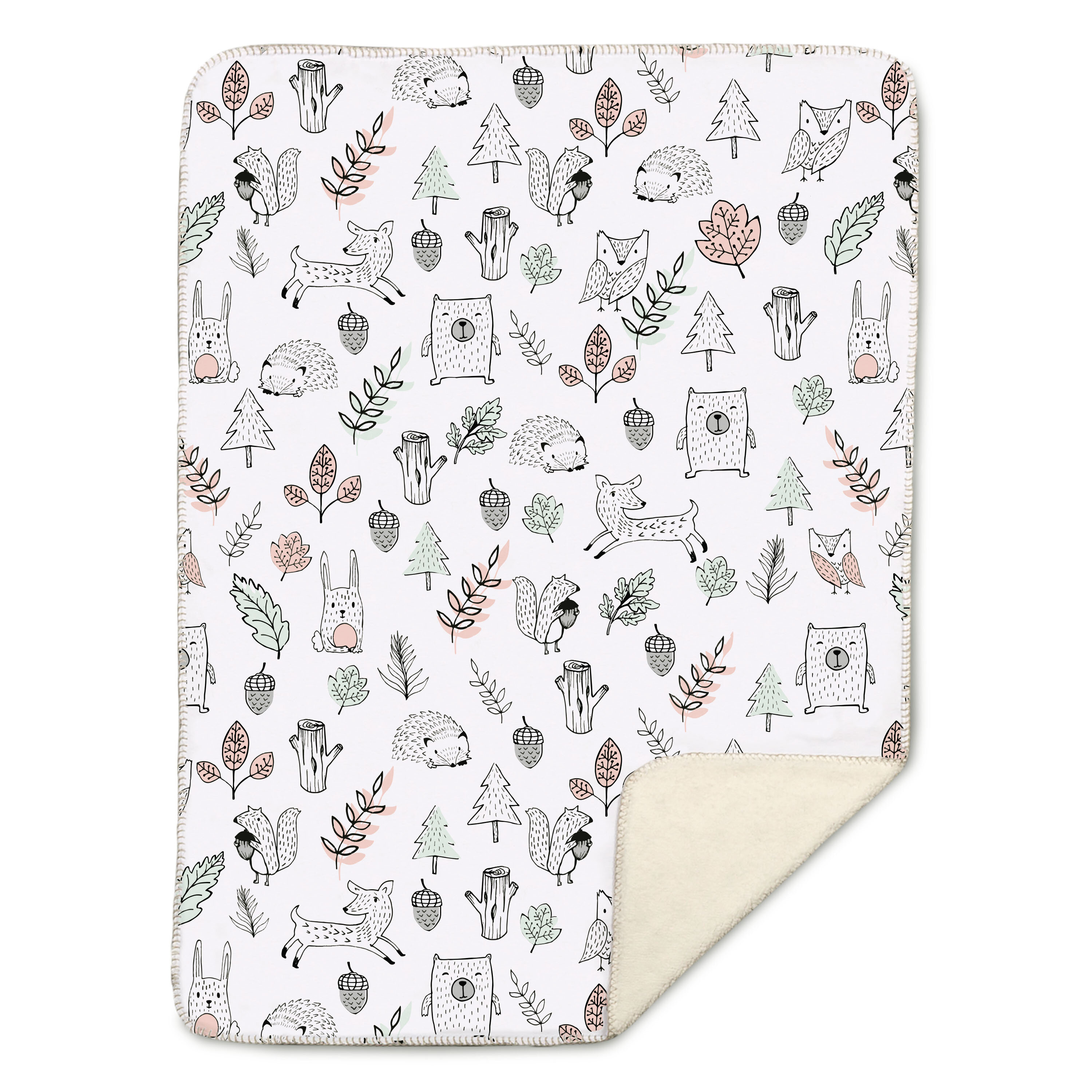 Beautiful Ultra Soft Pink Baby Blanket with Grey and White Sheep Design