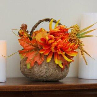 Autumn Harvest Burlap Desktop Pumpkin with Flowers and Fruit Thanksgiving Decoration Floral Arrangement in Basket