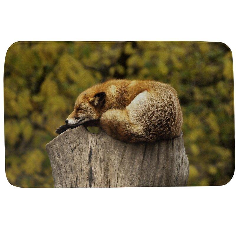 Ebern Designs Fawcett Sleeping Fox Rectangle Non Slip Bath Rug Wayfair