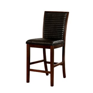 Marcel Counter Height Genuine Leather Upholstered Dining Chair (Set of 2) Alcott Hill