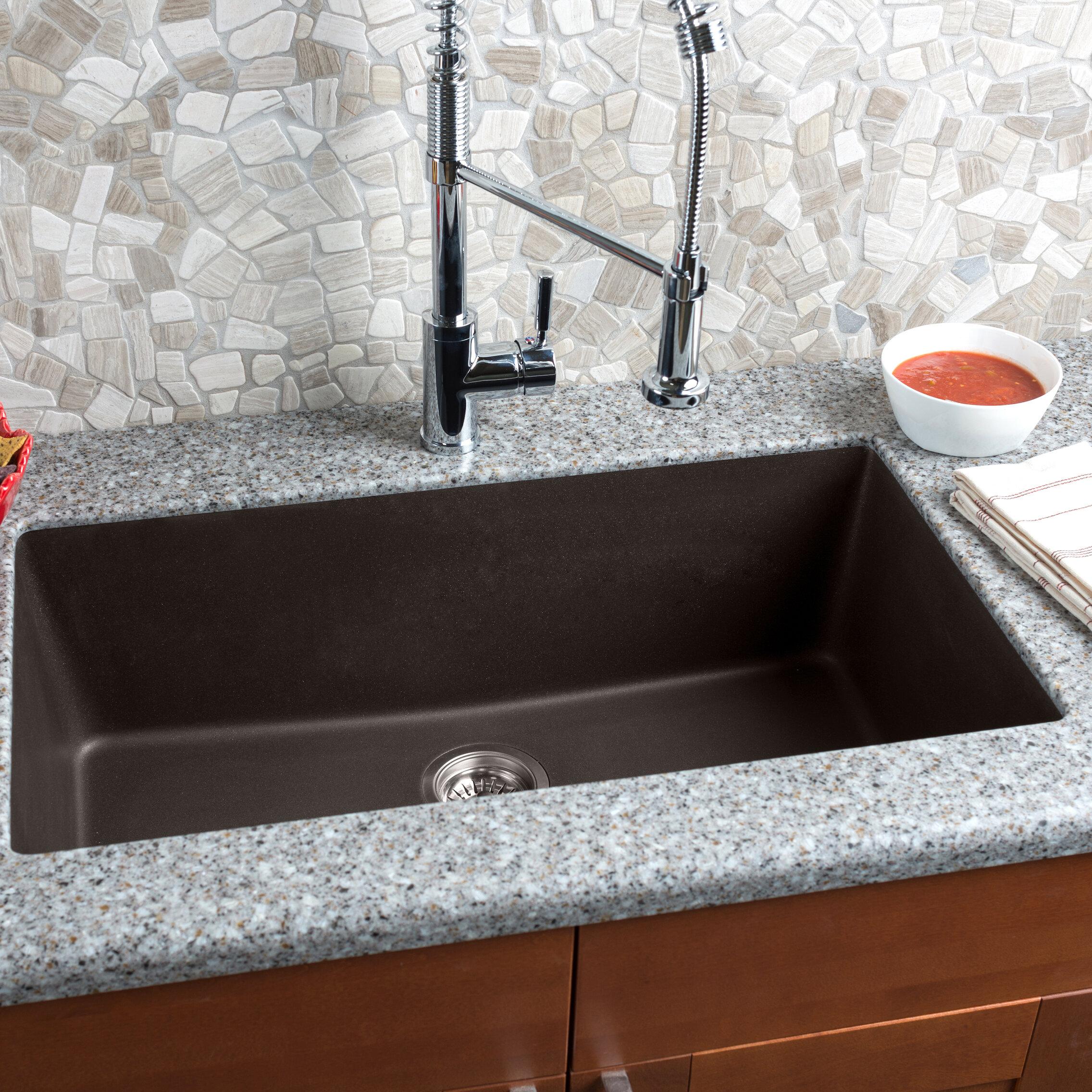 "Hahn 33"" x 18 5"" Granite Extra Single Bowl Kitchen Sink"