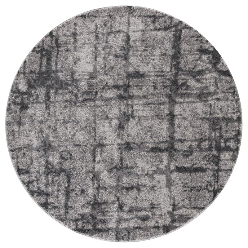 Ebern Designs Desdemona Gray Area Rug, Size: Round 5