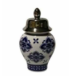 Traditional Ceramic Covered Temple Storage Jar
