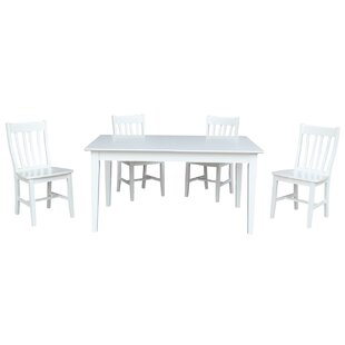 Oswald 5 Piece Extendable Solid Wood Dining Set August Grove