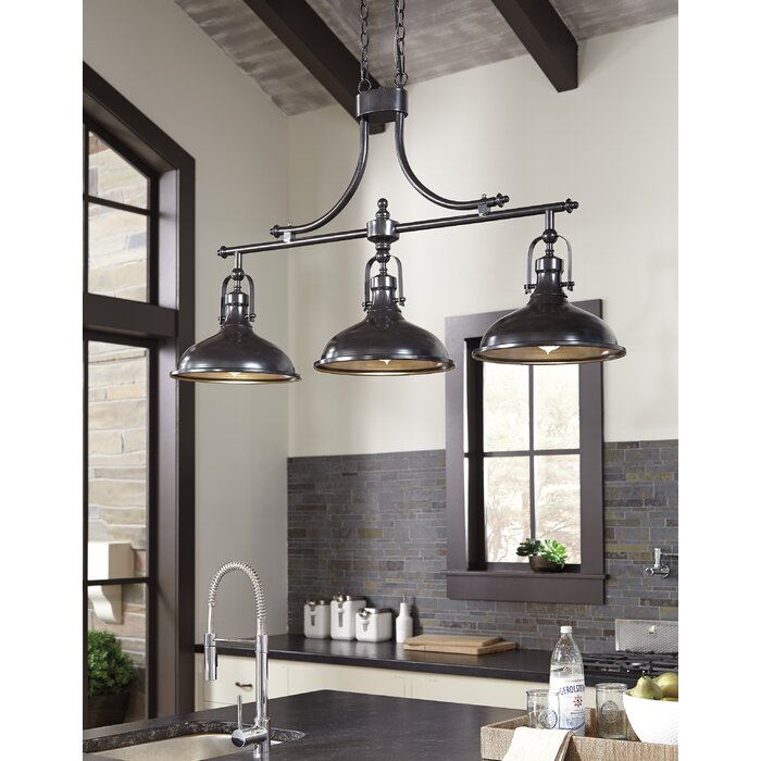 225 & Martinique 3-Light Kitchen Island Dome Pendant