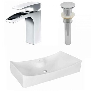 Affordable Above Counter Ceramic Rectangular Vessel Bathroom Sink with Faucet ByRoyal Purple Bath Kitchen