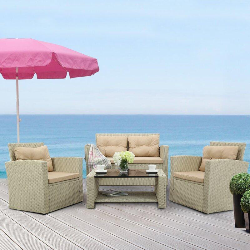 Dovecove 4 Piece Rattan Sofa Seating Group With Cushions Wayfair