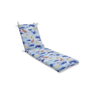 Lotus Lake Cobalt Indoor/Outdoor Chaise Lounge Cushion by Bloomsbury Market