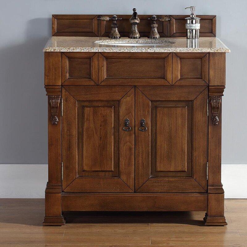 """Oak Bathroom Vanities darby home co bedrock 36"""" single country oak bathroom vanity set"""